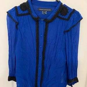 Heavily beaded blue sheer French Connection blouse
